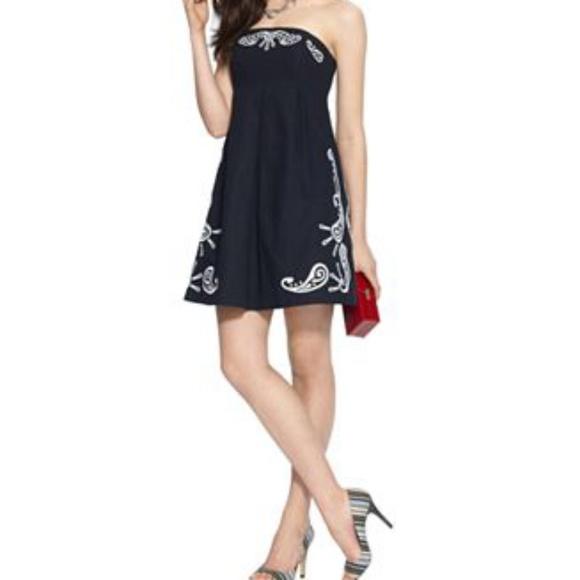 b74086070f Tommy Hilfiger Navy Strapless Embroidered Dress. M 5b78a67ba5d7c6b26bddbc01